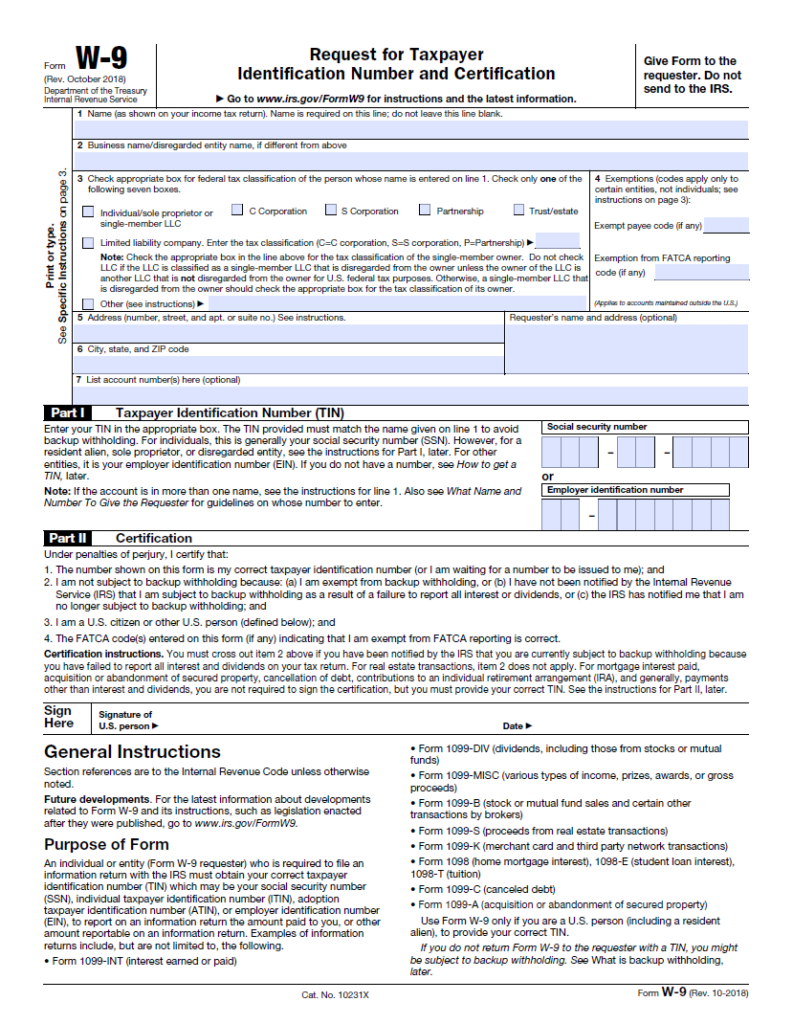 New W9 Tax Forms Printable 2021