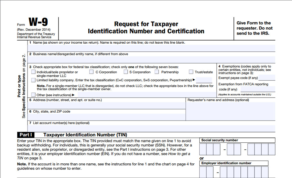 Printable W 9 Irs Form
