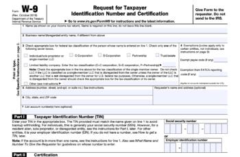 2021 W9 Form Printable Irs