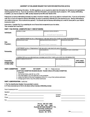Delaware W9 Printable Form