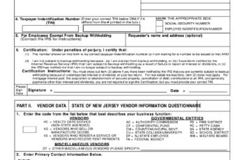 Nj W9 2021 Printable Form