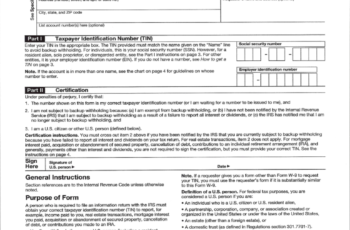 W-9 Form Free Fillable