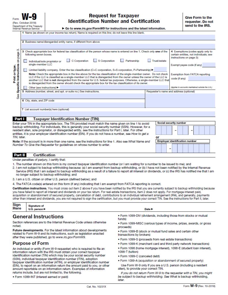 W-9 Form Pdf Printable