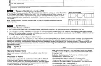 W-9 Tax Form Fillable