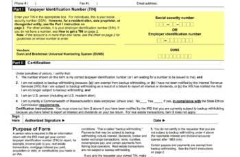 W9 Massachusetts Tax Form