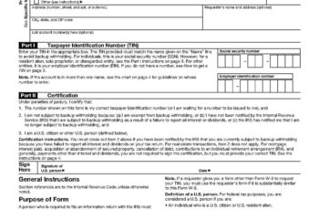 W9 Tax Form From Bank